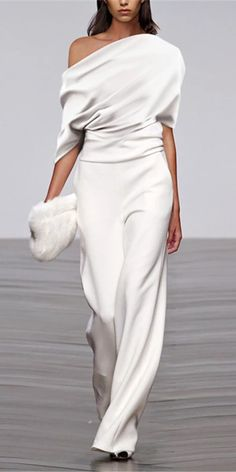 Fashion Solid Color Pleated Off Shoulder Wide Leg Jumpsuit- Fashion Solid Color Pleated Off Shoulder Wide Leg Jumpsuit Fall and Summer jumpusit for women, comfy material you will love it, pure color jumpusit. 50 Fashion, Look Fashion, Fashion Dresses, Womens Fashion, Fashion Trends, Elegance Fashion, White Fashion, Fashion Styles, Fall Fashion
