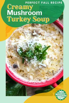 Keto Creamy Mushroom Turkey Soup.   With a beautiful blend of mushrooms, cream, and fresh herbs this soup is the perfect choice to start off this chilly time of year.   Also great to make in bulk and freeze for easy meal times - anytime! Fall Recipes, Real Food Recipes, Soup Recipes, Low Carb Vegetarian Recipes, Keto Recipes, Healthy Recipes, Creamy Mushrooms, Stuffed Mushrooms, Keto Carbs