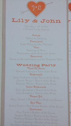 Coral and taupe wedding program!_A to Z Paperie!