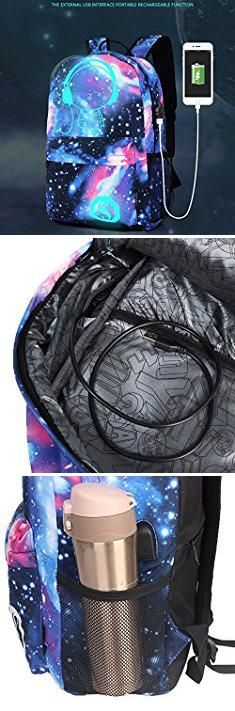Galaxy Pattern Backpack. Luminous Star Sky Printed Shoulders Bag with USB Fashion Casual Daypack Backpacks Trendy Galaxy Pattern Backpack Cute Christmas Black Friday New Year's Day night for School or Travel (Sky blue).  #galaxy #pattern #backpack #galaxypattern #patternbackpack