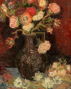 ❀ Blooming Brushwork ❀ - garden and still life flower paintings - Vincent Van Gogh, detail of Vase with Chinese Asters and Gladioli.