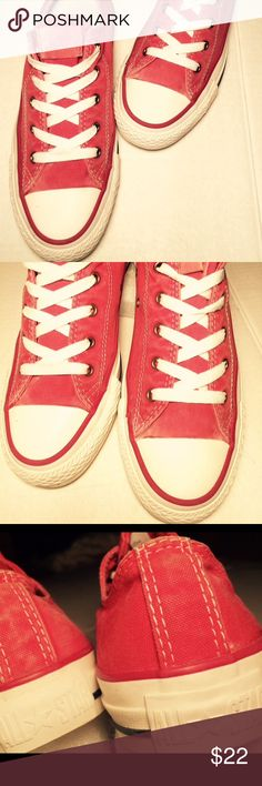 Red converse all star OX trainers, size 5.5 Traditional all star converse in red, front white bumper and outsoles, red tag on the tongue with the traditional all star logo, canvas upper, great shape Converse Shoes Sneakers