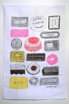 Family Favourites by Charlotte Farmer. A tea towel, but still an illustration. I may get this to frame! Filofax, Food Illustrations, Illustration Art, Juan Sanchez Cotan, Textiles, Everyday Objects, Tea Towels, Food Art, Design Inspiration