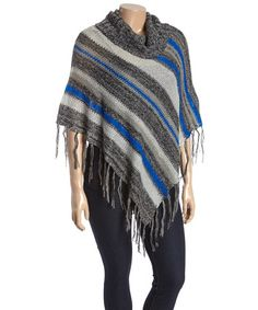 Another great find on #zulily! Black & Royal Stripe Fringe Poncho - Plus #zulilyfinds