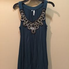 Embellished tank Teal color tank with detailed collar. Studio Y Tops Tank Tops