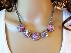 GODDESS AURORA, necklace, swarovski, crystal,  aurora borealis, flower, cabochons, statement, bridal, formal,purple, dksjewelrydesigns