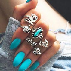 6Pcs/Set Bohemian Vintage Women Silver Elephant Turquoise Finger Rings Punk Ring