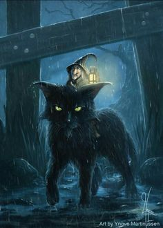 Halloween Black Cat with a little witch riding on its back in the rain of the night Chat Halloween, Halloween Pictures, Fall Halloween, Witch Pictures, Halloween Costumes, Halloween Party Games, Halloween Drawings, Halloween Crafts For Kids, Halloween Night
