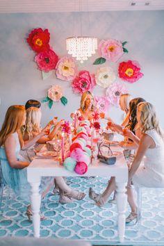 honeycomb ball table runner garland, tissue paper flowers, pinks, greens and bridesmaids!  | lovelyfest event design