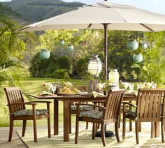 Nice outdoor living area  Chatham Rectangular Extending Dining Table  Chair Set | Pottery Barn