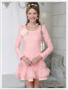 Morpheus Boutique  - Pink Floral Hem Long Sleeve Pleated Dress