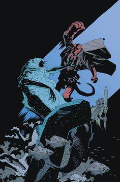 Hellboy vs. Mermaids by Mike Mignola.