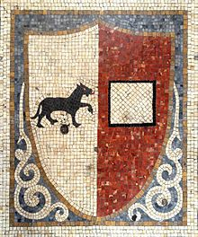 Ancient mosaic with Piacenza old coat of arms