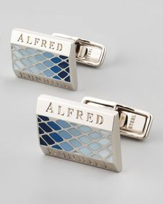 Facet Lacquer Cuff Links, Sky Blue by Alfred Dunhill at Neiman Marcus.
