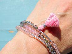 Crystals and Tassel Bracelet Set  3 Bracelets  by ZardeniaJewelry