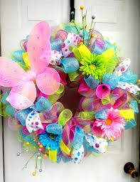 how to make deco mesh and flowers spring wreath - Google Search