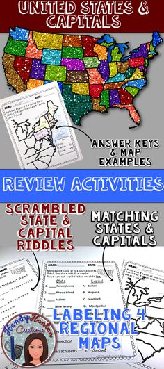 United States & Capitals Review Activities for your elementary classroom.  Label Maps, Unscramble States & Capital Names, and Match States With Capital.