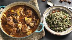 Chicken and lemon tagine with herby tabbouleh http://www.bbc.co.uk/food/recipes/chicken_and_lemon_tagine_75608