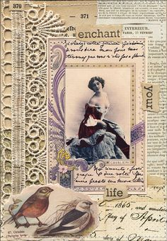 Website with burlap & lace, shabby chic collage inspiration. Annabelle's picture inside
