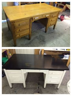 53 Ideas old wood desk makeover inspiration Furniture Update, Furniture Projects, Furniture Making, Furniture Makeover, Diy Furniture, Refinished Desk, Refurbished Furniture, Repurposed Furniture, Painted Furniture