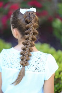 Stacked Pull-Through Braid.  Love this one! #hairstyles #cutegirlshairstyles #CGHstackedpulthru #braids #hairstyle