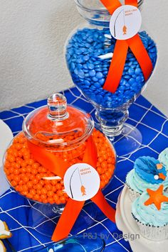 gummy fish kababs and shark toys in a jar from http