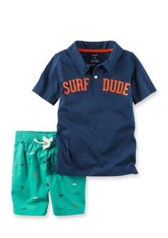 Carter's  2-Piece Surf Dude Polo And Poplin Shorts Set - Navy - 18 Months