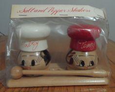 Vtg Wooden CHEF Hat Salty & Peppy Salt & Pepper Shakers & Holder MIP Japan in Collectibles, Kitchen & Home, Kitchenware   eBay