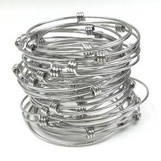 Bulk Lot 50 pcs Stainless Steel Adjustable Wire Bangle