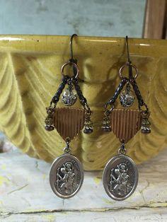 Vintage Religious Medal Assemblage earrings St. Christopher Medals - Tilliegirlstudio