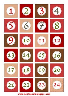 Free printable number (1-24) label sheet, Christmas advent countdown tags freebie | MeinLilaPark