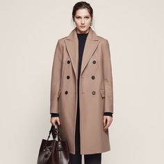 Betty Camel Double-Breasted Coat - REISS