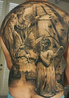 Tattooed back with great theme  #skull #angel #tattoo #tattoos #tattooed #tattooing #tatoo #tatoos #ink