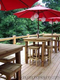 DIY Deck Tables--searched her blog (which is fabulous, by the way) for the plans for these. Not sure if she ever posted them, but I think I can figure it out. Or Ill email her and ask.