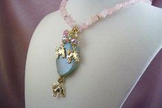 PUG  ap11  DOG Charm Necklace  Rose Quartz  by HOBBYHORSELADY, $31.90