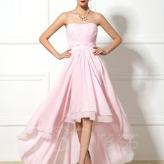 W319 asymmetry high low empire waist chiffon prom dress