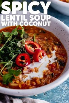 This spicy lentil soup is my favourite vegan comfort food! It's such a healthy and hearty winter dish made with red lentils, curry powder and coconut milk. #thecookreport #spicylentilsoup #lentilsoup #veganrecipe