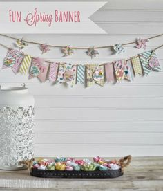 The Happy Scraps: Fun Spring Banner Spring Projects, Spring Crafts, Holiday Crafts, Craft Projects, Bunting Banner, Banners, Buntings, Bunting Ideas, Spring Banner