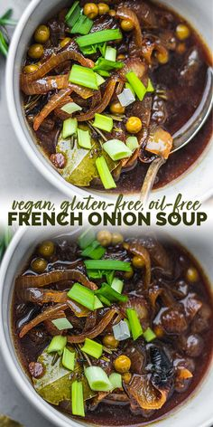 This vegan French onion soup is full of flavour, made with healthy ingredients and super easy! Delicious as either a main or a side, and always a crowd pleaser. Gluten-free and oil-free. Vegan Lunch Recipes, Vegan Soups, Healthy Soup Recipes, Vegan Dinners, Whole Food Recipes, Vegetarian Soup, Dinner Recipes, Vegan French Onion Soup, Gluten Free Soup