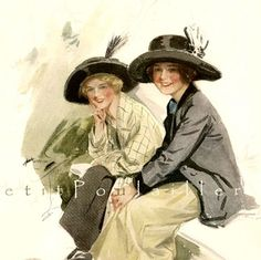 Good Friends 1912 Harrison Fisher Edwardian Fashion Lithograph ... off to a new home!