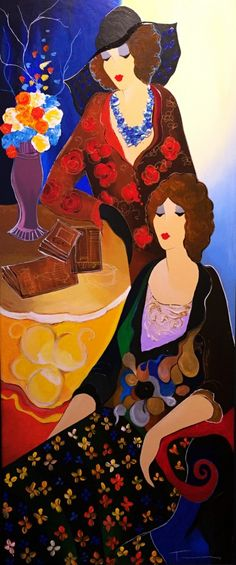 Debbie And Donna II Embellished on canvas by Itzchak Tarkay - Hand Embellished Serigraph on Canvas
