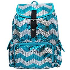 5bfa981cb7 2 Tone Glittery Sequin Drawstring Cheer Yoga Dance Girly School Backpack  Bookbag (Aqua) NGIL