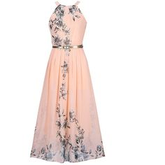Flowy Floral Printed Crew Neck Chiffon Maxi Dress (€24) ❤ liked on Polyvore featuring dresses, long dresses, white floral dress, long chiffon dress, long maxi dresses, white summer dress and white maxi dress