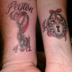 Matching Lock & Heart Tattoos with our sons name & birthday