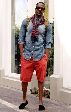 red shorts, denim shirt