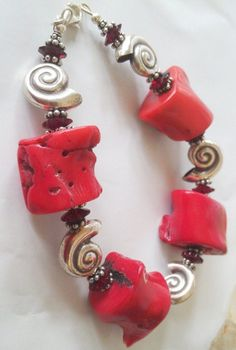 red coral silver nautilus shell bracelet