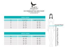 Measuring For Your Mermaid Tail and Swimsuit Size Charts