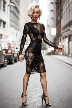 For an ensemble that provides practicality and fashion, go for a black lace bodycon dress. Black embellished suede heeled sandals will infuse an air of sophistication into an otherwise standard outfit. Sexy Outfits, Sexy Dresses, Cute Outfits, Fashion Outfits, Womens Fashion, Lace Dresses, Fashion Boots, Party Dresses, Micah Gianneli