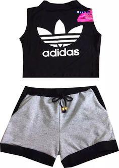 conjunto feminino cropped adidas e shorts com bolso verão