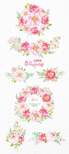 Love Whispers: 6 Watercolor Bouquets and 1 Wreath flowers